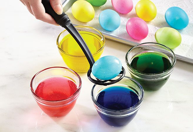 Eggs dipped in dye