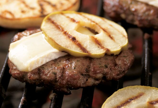 Bacon & Brie Burgers with Grilled Apples
