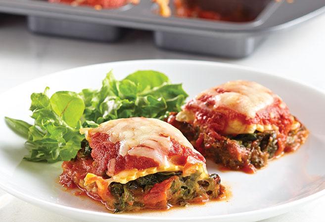 """Mini Spinach """"Lasagna"""" Squares"""