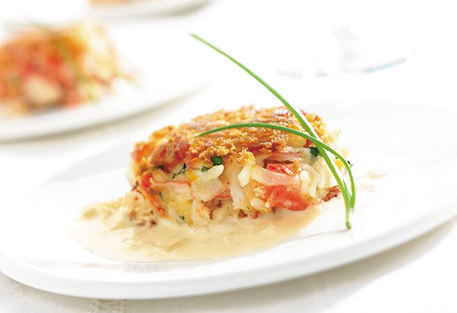 Cruty Crab Cakes with Lemon-Butter Sauce