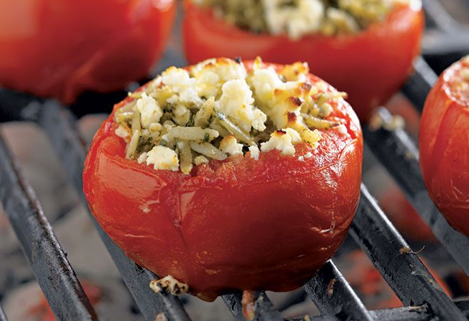 Grilled Orzo-Stuffed Tomatoes
