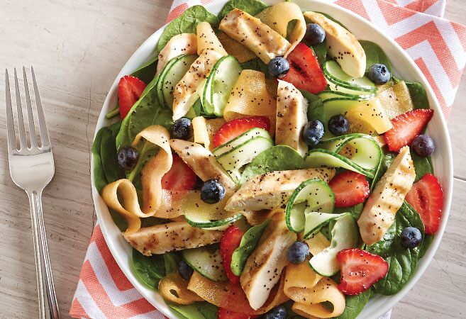 Ribboned Melon & Chicken Salad