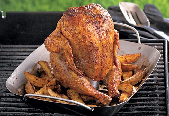 Smoky Beer Can Chicken with Potato Wedges