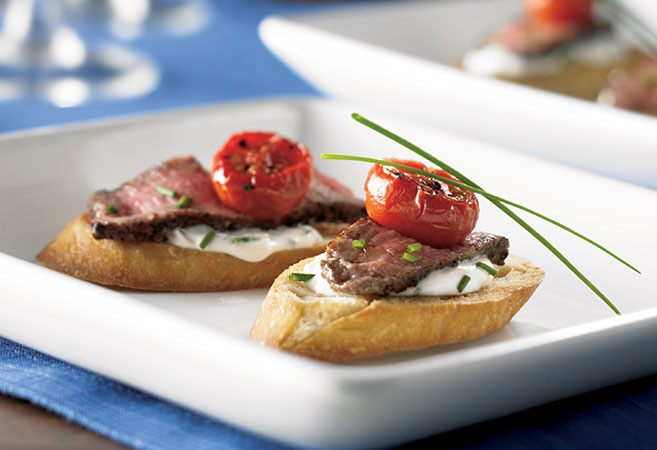 Steak Crostini with Chive–Cream Sauce