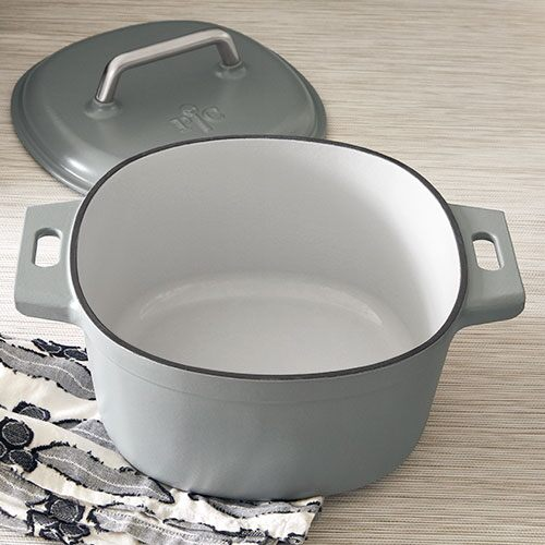 6 Qt Enameled, Enameled Cast Iron Cookware On Glass Top Stove