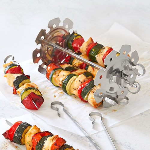 Shish Kebab Skewer Set Grill Attachment 7 pieces Meat Skewers Rotisserie Grill Spit New