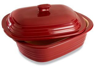 Stoneware Deep Covered Baker Cranberry