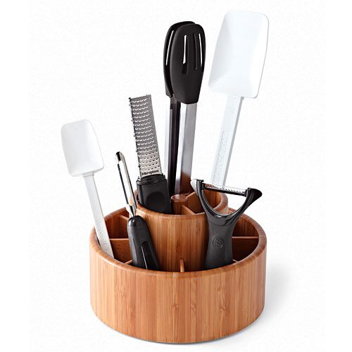 kitchen tool organizer bamboo tool turn about shop pampered chef us site 3370