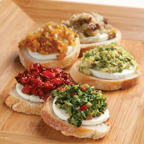 Goat Cheese & Tapenade Crostini (Spinach & Olive) - Recipes | Pampere...