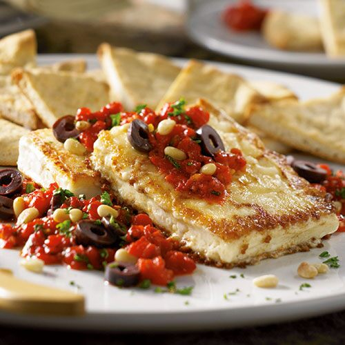 Pan-Fried Feta with Red Pepper Salsa