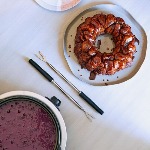 Chocolate Pull-Apart Bread With Blueberry Sauce