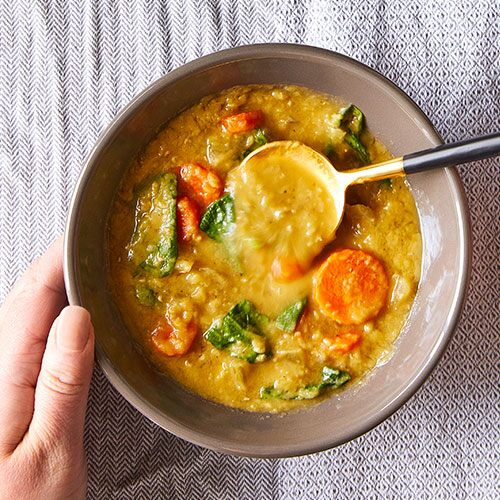 Quick Cooker Red Lentil & Spinach Soup