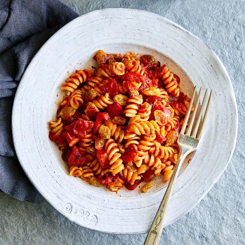 Roasted Red Pepper Pasta served in a bowl