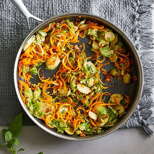 Butternut Squash Pasta With Brussels Sprouts & Bacon