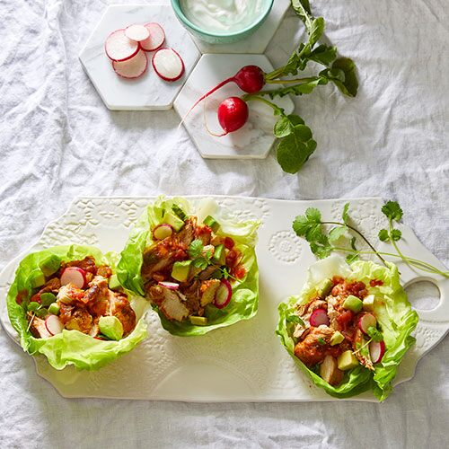 Quick Cooker Salsa Chicken Lettuce Wraps