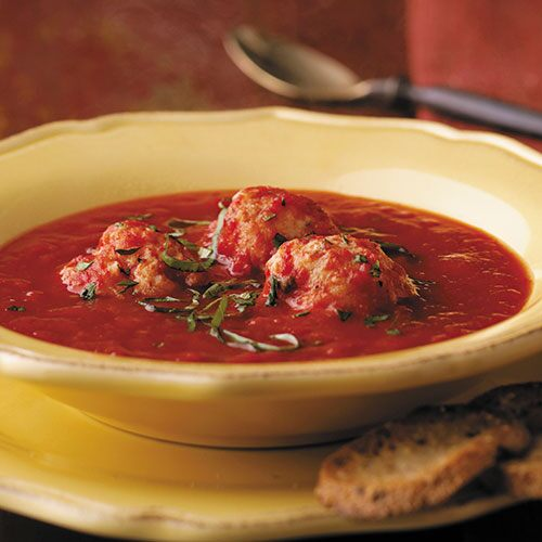 Tomato-Basil Soup with Ricotta Dumplings