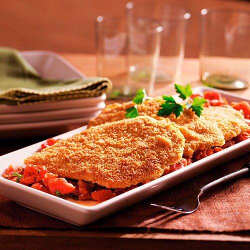Tortilla-Crusted Chicken with Spicy Tomato Sauce