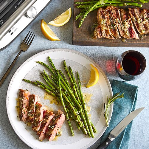 Grilled Steaks & Asparagus With Rosemary Garlic Butter