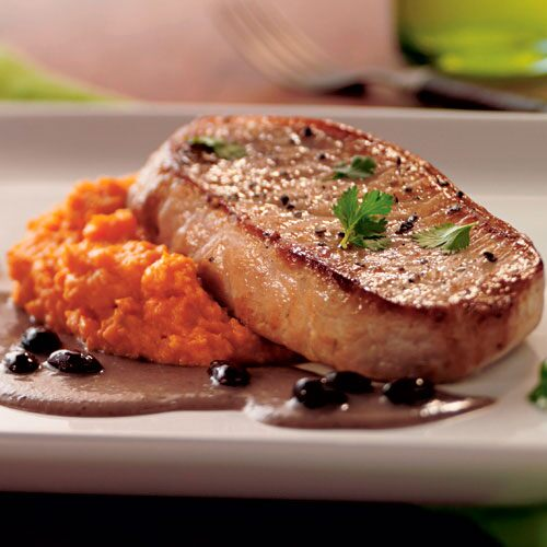 Pork Chops with Sweet Potato Puree & Black Bean Sauce