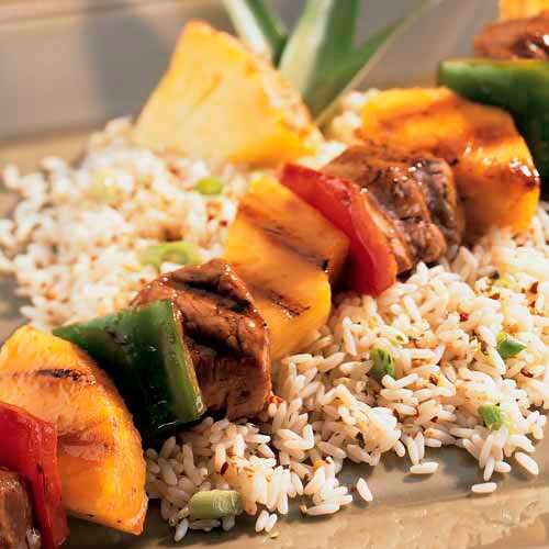 Teriyaki Pork Kebabs with Asian Rice