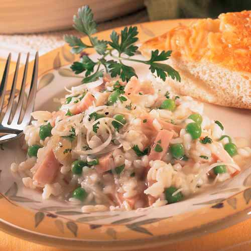 Easy Risotto with Ham and Peas