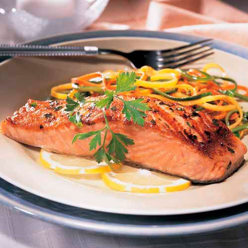 Pan-Seared Salmon with Julienne Vegetables