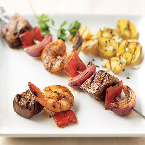 Surf & Turf Skewers with Grilled Potato Salad