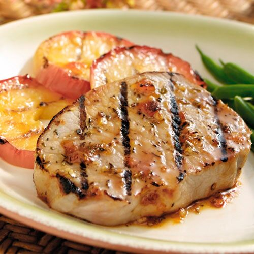 Glazed Pork Chops with Grilled Apples