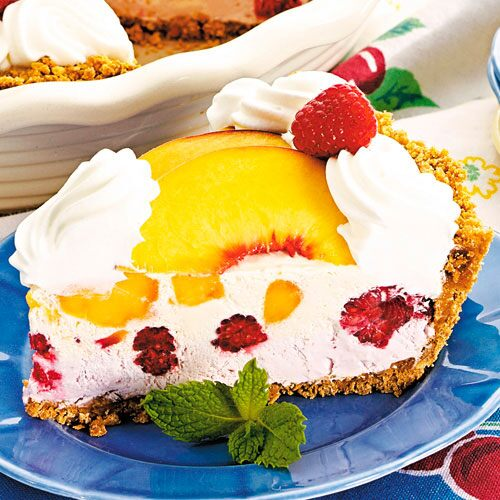 Frozen Peach Melba Pie