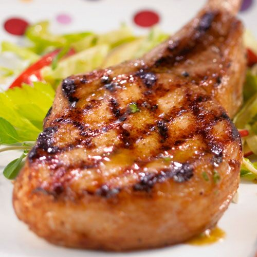 Grilled Pork Chops with Apple Slaw
