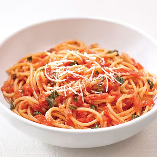 Spaghetti with Roasted Tomato-Basil Sauce