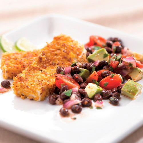 Corn-Crusted Tofu with Black Bean Salad