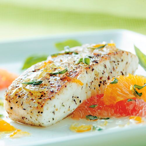 Sautéed Halibut with Citrus-Basil Sauce
