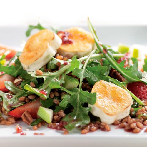 Wheatberry Salad with Seared Brie