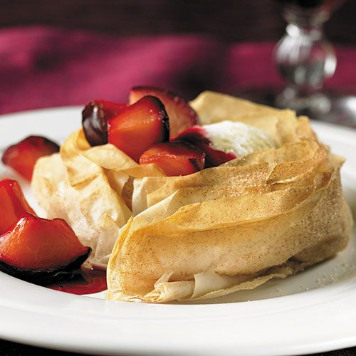 Roasted Plums in Flaky Phyllo Shells