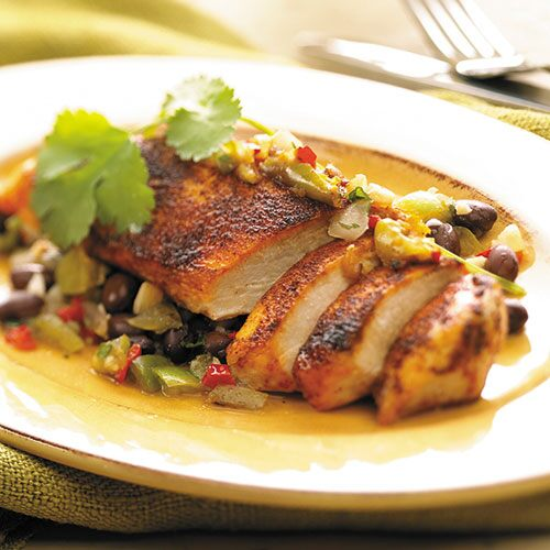 Tomatillo Chicken with Black Beans