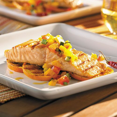 Grilled Salmon with Smoky Yellow Pepper Salsa