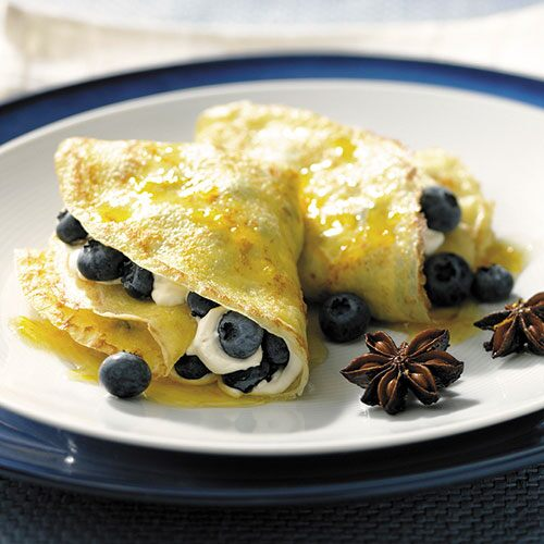 Blueberry Crêpes with Star Anise Syrup