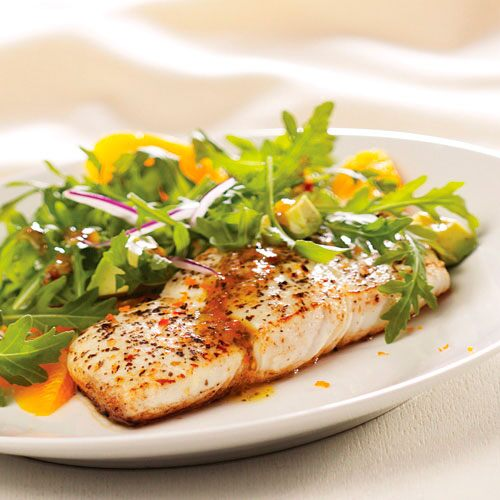 Sautéed Halibut with Arugula Salad