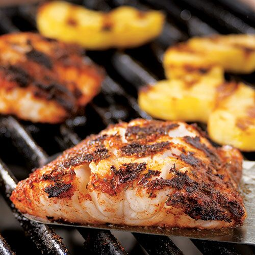 Blackened Cod With Grilled Pineapple
