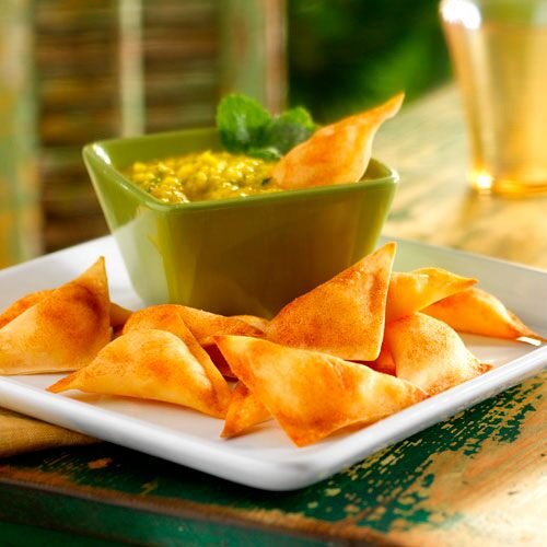 Tropical Wontons with Mango Sauce