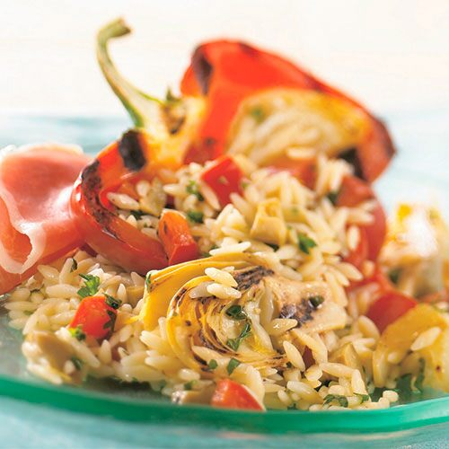 Grilled Antipasto and Orzo Salad
