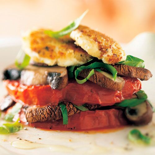 Tomato, Basil and Portobello Napoleons