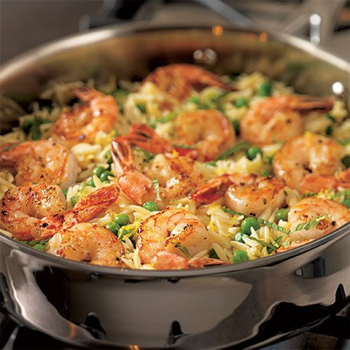 shrimp orzo skillet quick cooking shrimp are a mainstay in busy ...
