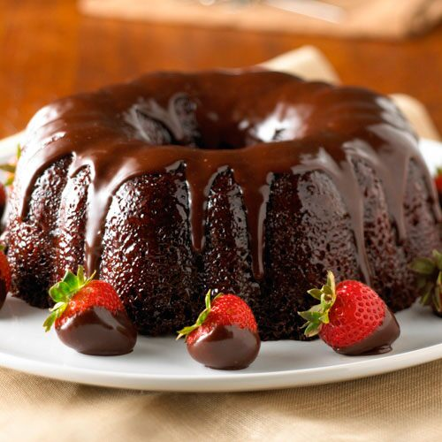 Chocolate Velvet Cake with Strawberries