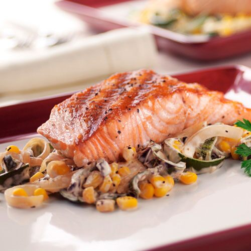 Pan-Grilled Salmon with Poblanos, Corn and Onions