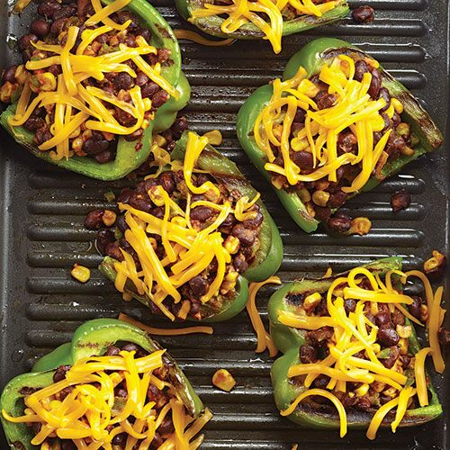 Grilled Tex-Mex Stuffed Peppers in a bowl