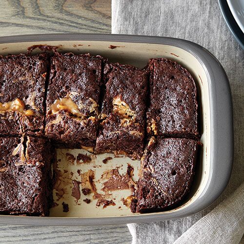 Microwave Peanut Butter Caramel Brownies