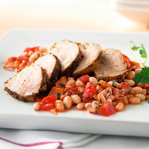 Pork Tenderloin with White Bean Salsa