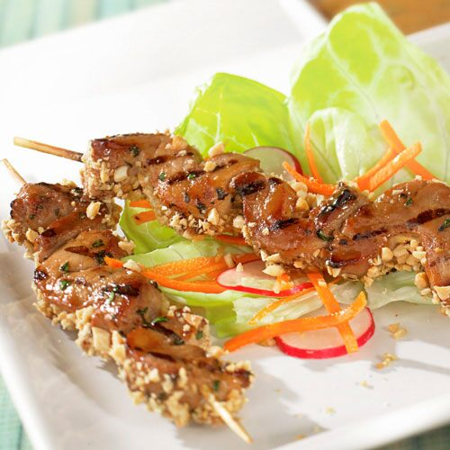 Peanut-Crusted Pork Satay